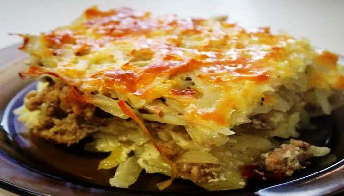 Картофельная запеканка с фаршем и сыром в духовке