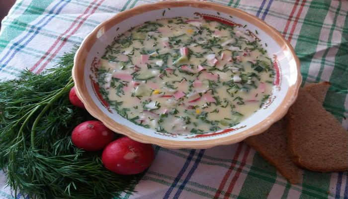 Рецепт классической окрошки на кефире с колбасой