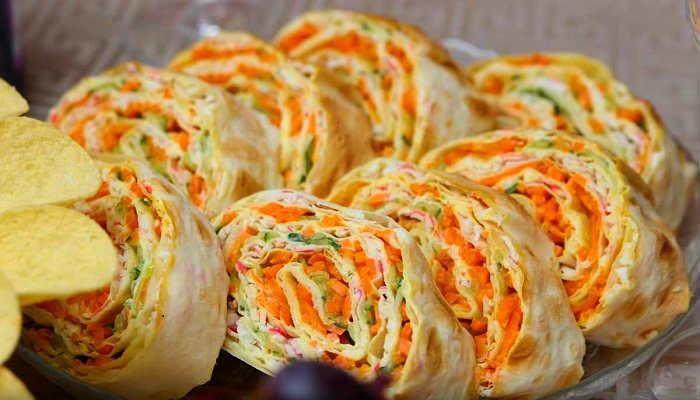 Рулет с корейской морковкой